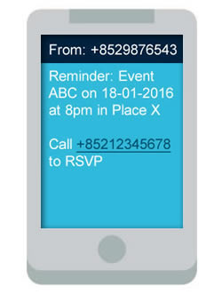 clickSUMO SMS Use Case Event Reminders